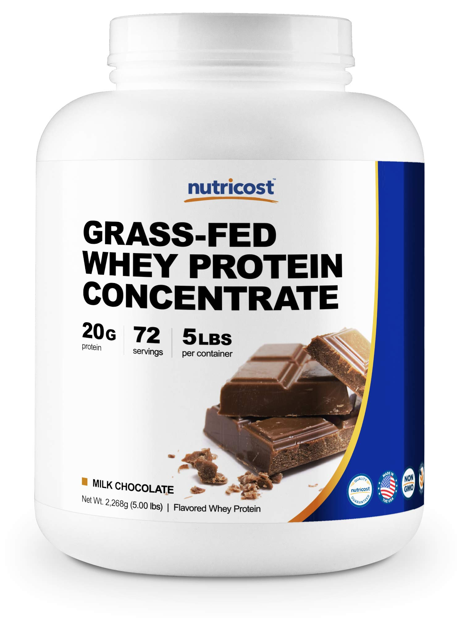Nutricost Grass-Fed Whey Protein Concentrate (Chocolate) 5LBS - Undenatured, Non-GMO, Gluten Free, Natural Flavors by Nutricost