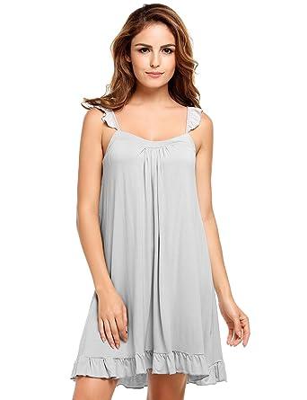 bd774d68f13 Goldenfox Famale Chemise Nightgown Camisole Sleepwear Full Slip Nightdress  (Dark Gray
