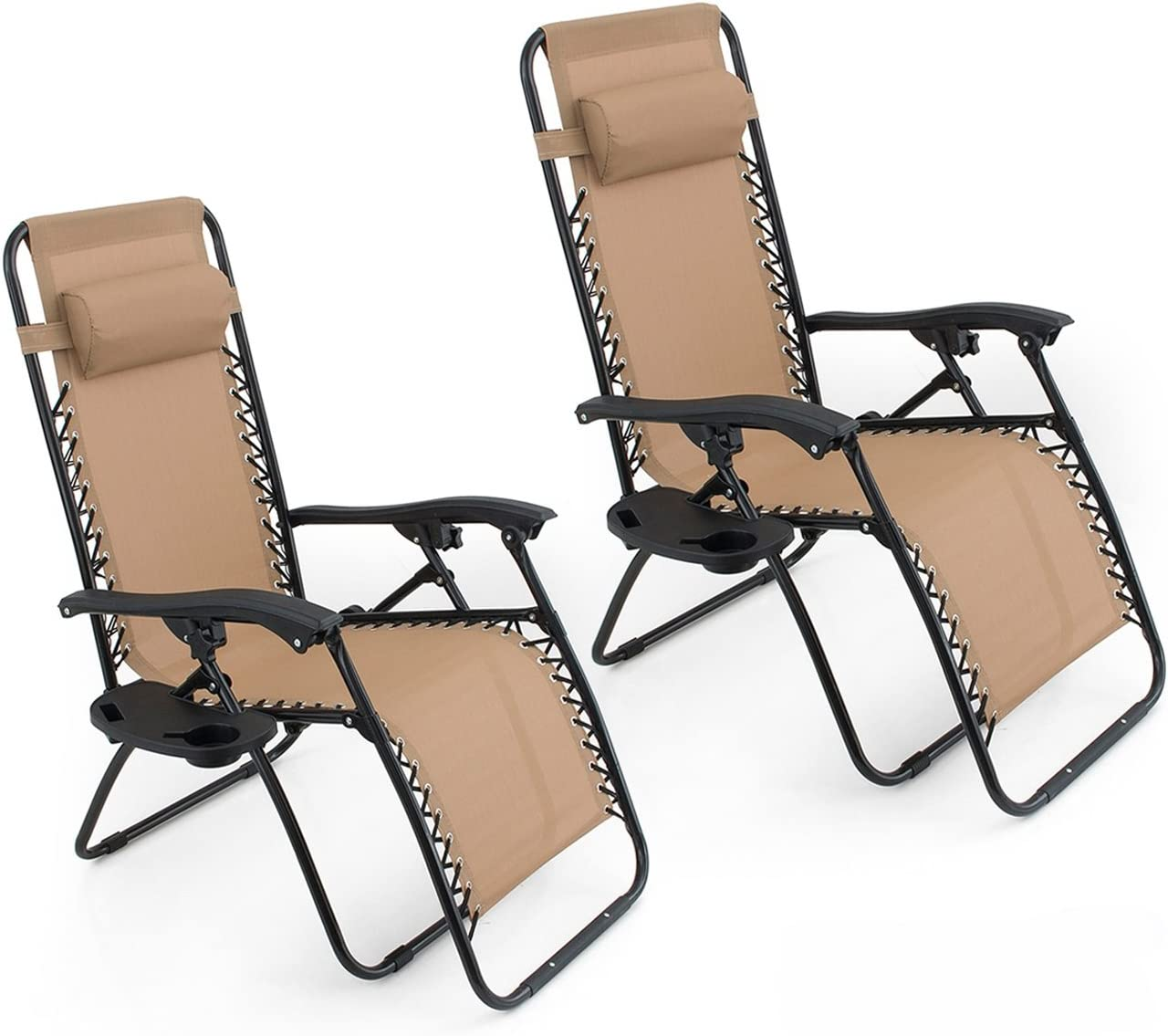 BELLEZE Set of 2 Anti Zero Gravity Chairs w Tray Cup Holder Rust Resistant Lightweight Patio Garden Chair, Beige