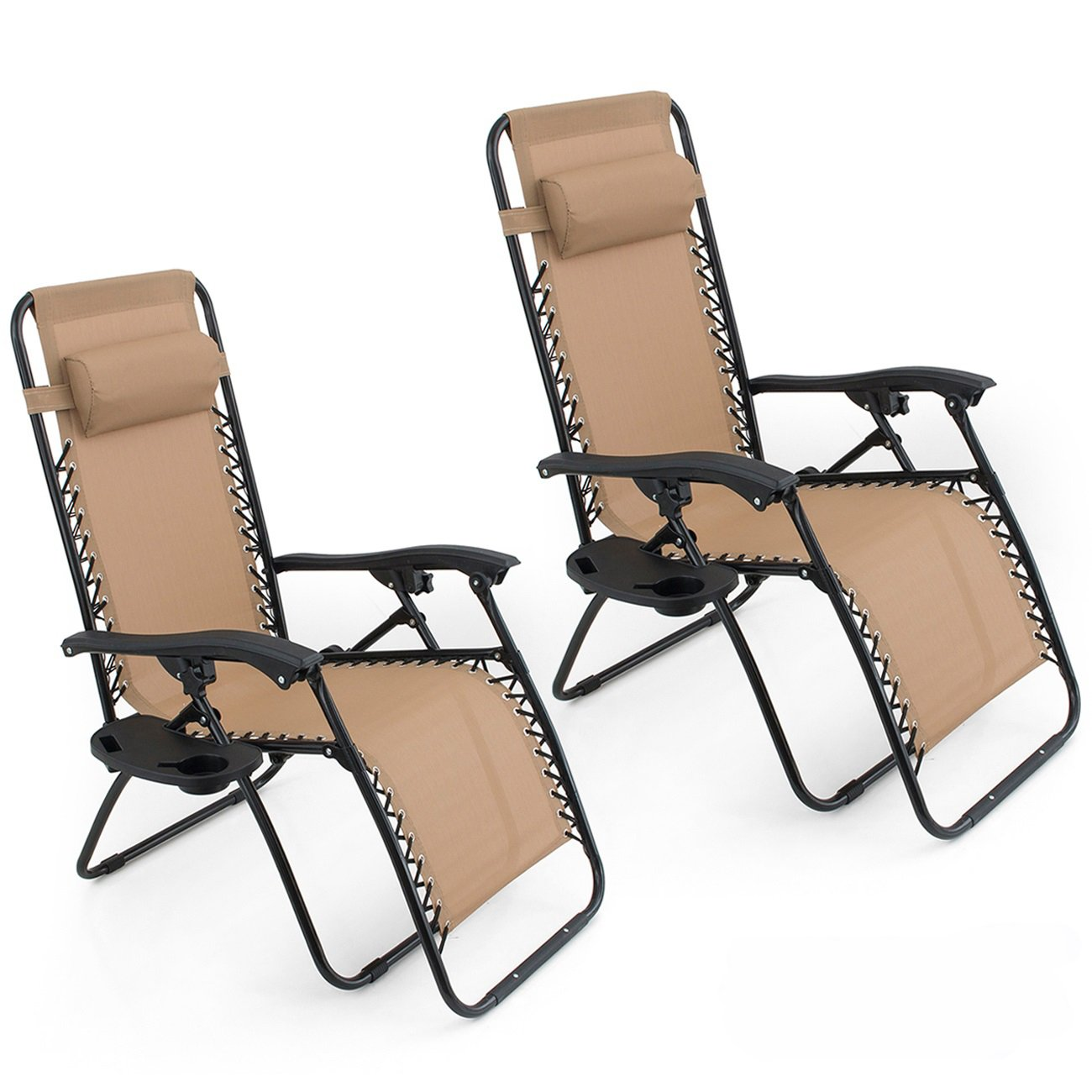 Belleze Set of 2 Anti Zero Gravity Chairs w Tray Cup Holder Rust Resistant Lightweight Patio Garden Chair, Beige