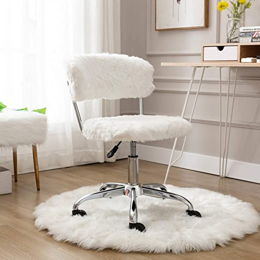 Amazon Com Cimota White Home Office Chair Cute Fluffy Vanity Chair With Back Task Upholstered Fur Armless Swivel Desk Chair For Study Room Height Adjustable Kitchen Dining