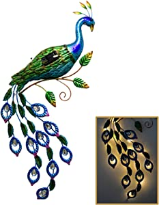 CYA-DECOR Solar Metal Wall Peacock Statue Decor for Outdoor Use, Elegant Garden Peacock with Solor Light Tail, Metal Wall Art Perfect for Patio Yard or Home Decoration