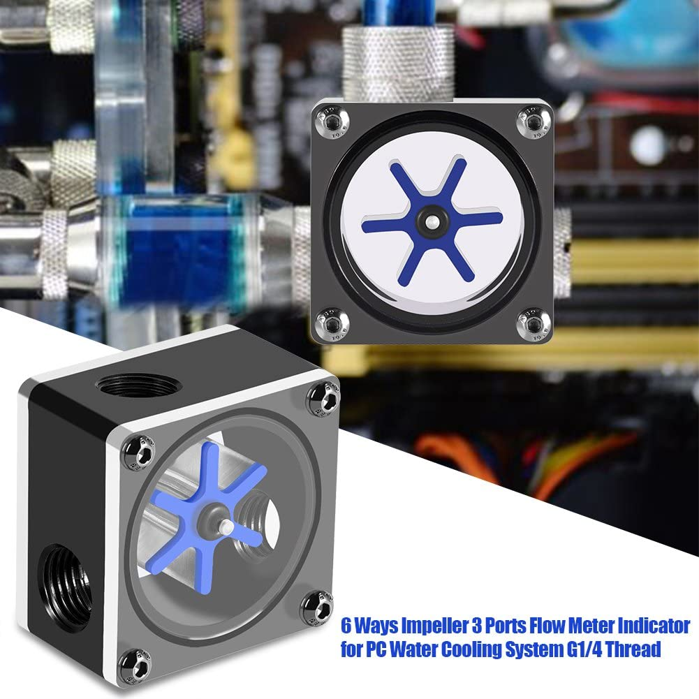 Diyeeni Flow Meter Indicator G1//4 Thread 6 Impeller 3 Ways Flow Meter Indicator with Silicone Sealing Ring Suitable for PC Water Cooling System