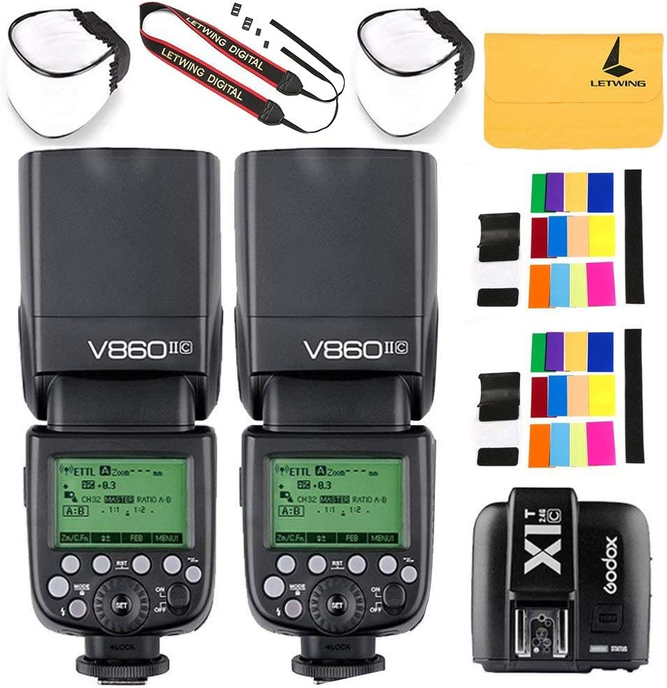 Godox V860II-C 2.4G Wireless E-TTL II Li-on 2PCS Camera Flash Speedlite Compatible for Canon 6D 50D 60D 1DX 580EX II 5D Mark II III+X1C TTL Wireless Transmitter Compatible for Canon EOS series cameras