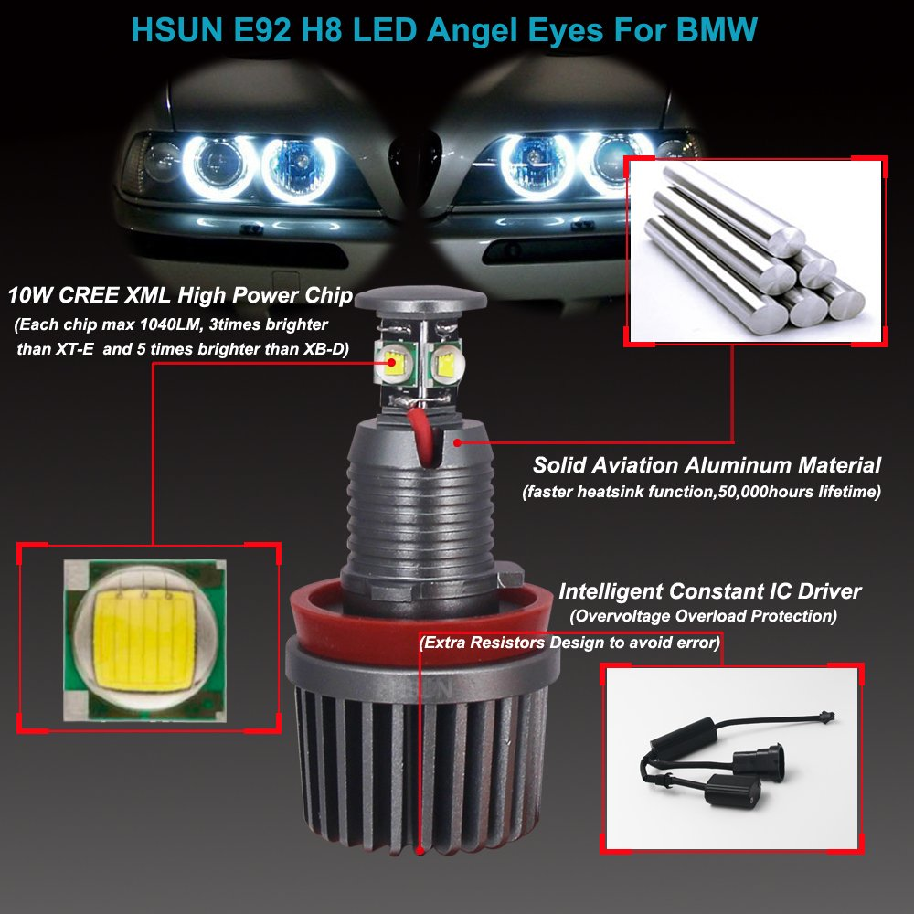 HSUN E90 E91 Angel Eyes LED Marker Bulb,80W CREE XB-D High Power Chip 6000LM Super Bright Bulbs with Decoder//Resistor Canbus Error Free,6000K White,2 Pack