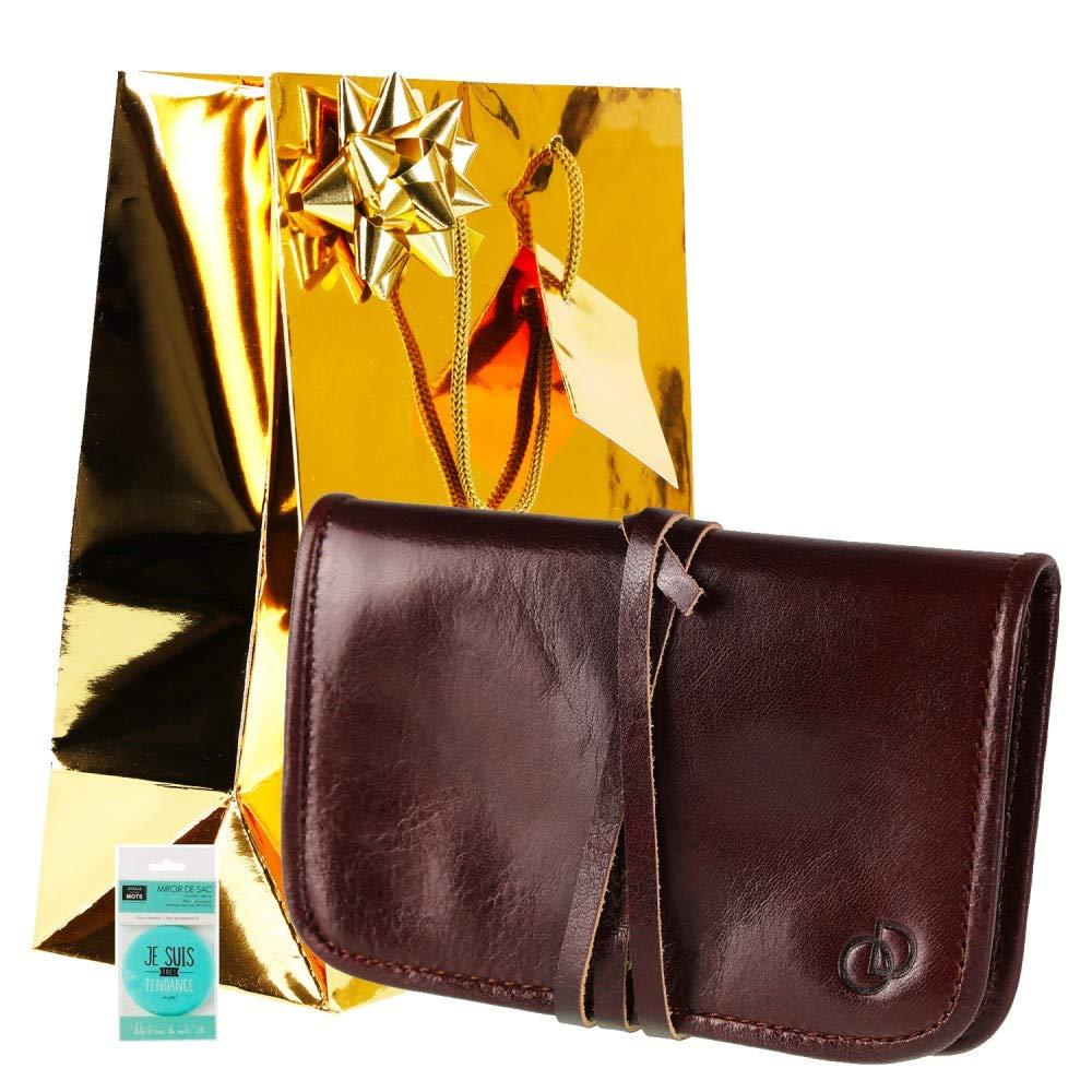 Marron Pochette Trousse Tab 100/% Cuir 15,5 cm Olimar Dor Accessoires//Id/ée Cadeau no/ël Anniversaire