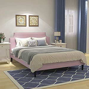 Upholstered Button Tufted Platform Bed with Headboard Strong Wood Slat Support Mattress Foundation Easy Assembly Pink Queen