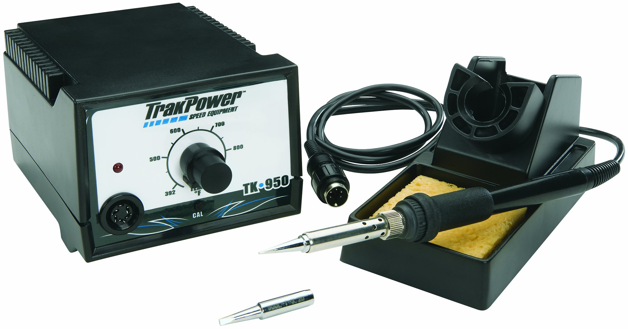 TrakPower TK950 Soldering Iron Station 60W | Chisel Pt. & Pencil Tips | Sponge | Stand & Decals