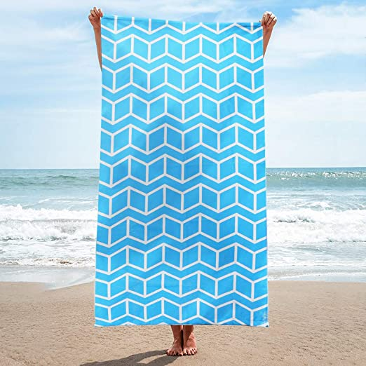 Lux Oversized 40x75 Very Absorbent Cotton Beach Towel W//Hidden Navy Blue