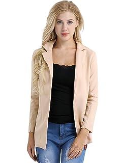 TiaoBug Femme Blazer à Manches Longues Manteau en Coton Cardigan Blouson  Elégant Jacket Veste Costume… 86acd3682d0e