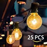 LED Lichterkette, Mture Lichterkette 25 LEDs Globe Garten Lichterkette Warmweiß, Innen-und Außen Deko Glühbirne für Zuhause, Party, Weihnachten, Garten, Hochzeiten (Energieklasse A+)