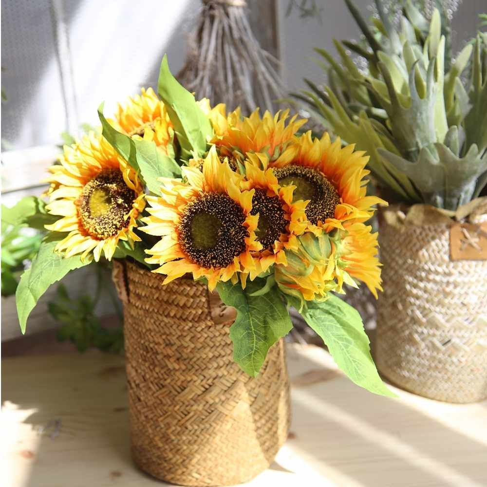 Artificial Flowers, Fake Flowers Silk Artificial Sunflowers Bridal Wedding Bouquet for Home Garden Party Wedding Decoration