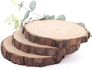 Unfinished Natural Wood Slices 3 Pcs 4.7-5.5inch Wooden Circles with Tree Bark Log Discs for DIY Craft Rustic Table Centerpieces Wedding Ornaments