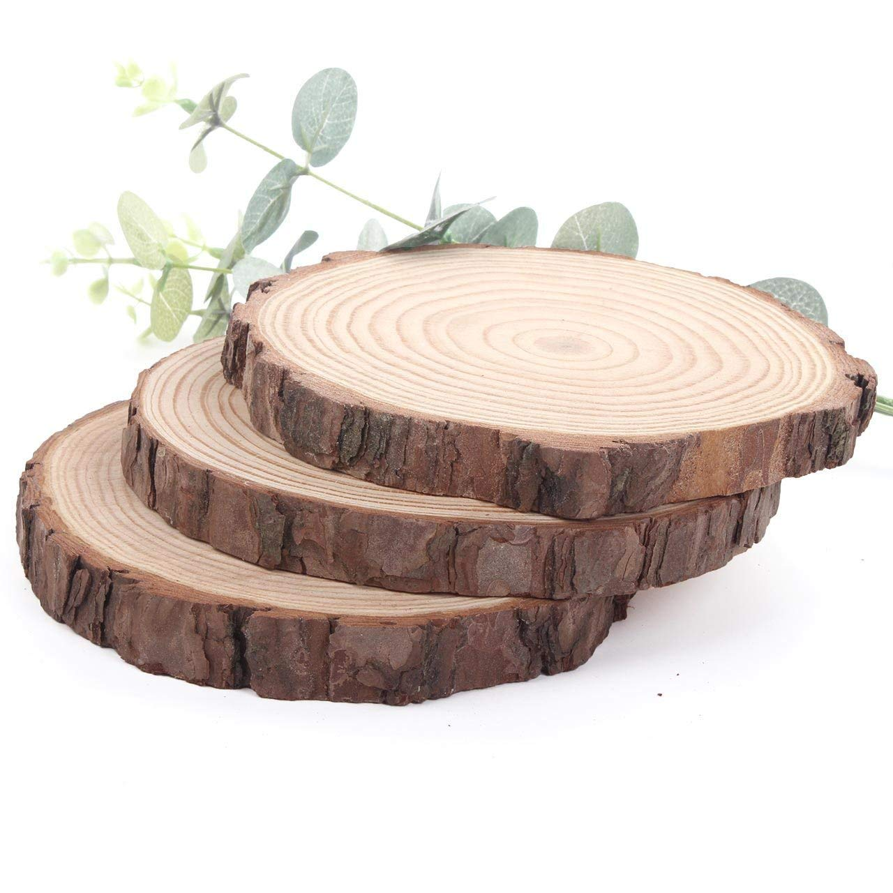 HANBEN 3pcs 4.7 5.5 Large Wood Slices with Bark for Wedding Centerpiece DIY Woodland Projects Table Chargers or Country Decor