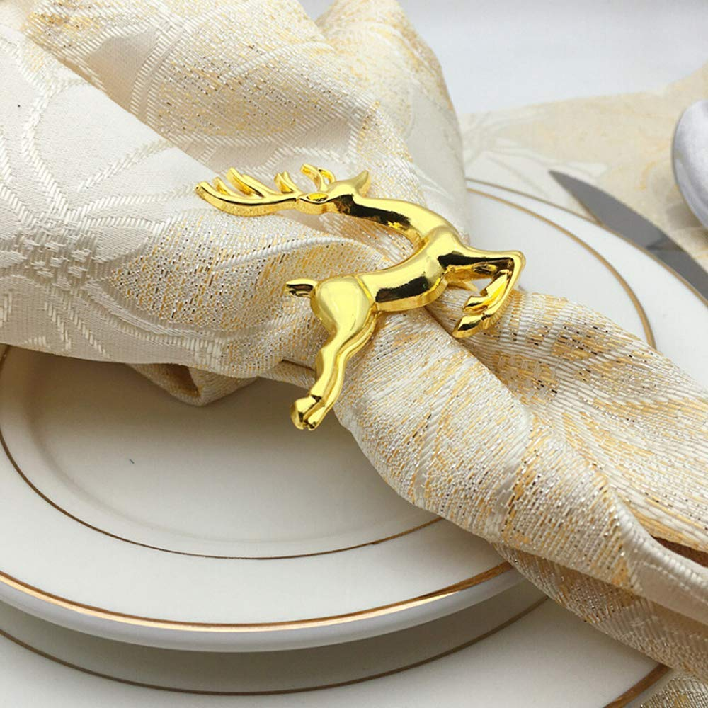 LHKJ 6 pezzi Anelli Portatovagliolo Argento,Renna di Natale Tovaglioli Anelli Decorazione della Tavola
