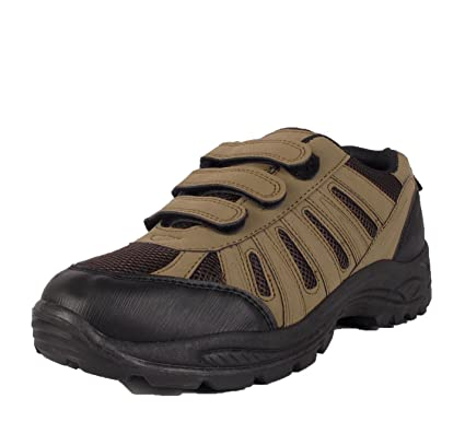 ffabb3482b7cd MENS HIKING BOOTS WALKING VELCRO STRAP TRAIL TREKKING TRAINERS SHOE SIZE UK  6-12 (UK 7 / 41, Brown): Amazon.co.uk: Shoes & Bags