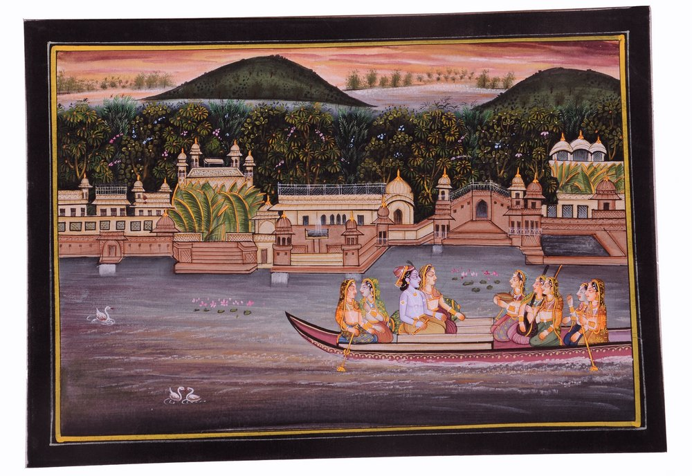 Krishna Radha Painting : Indian Hindu Religious God Goddess Lively to Decor Your Home Hotel Office Bedroom Lobby or Living Room