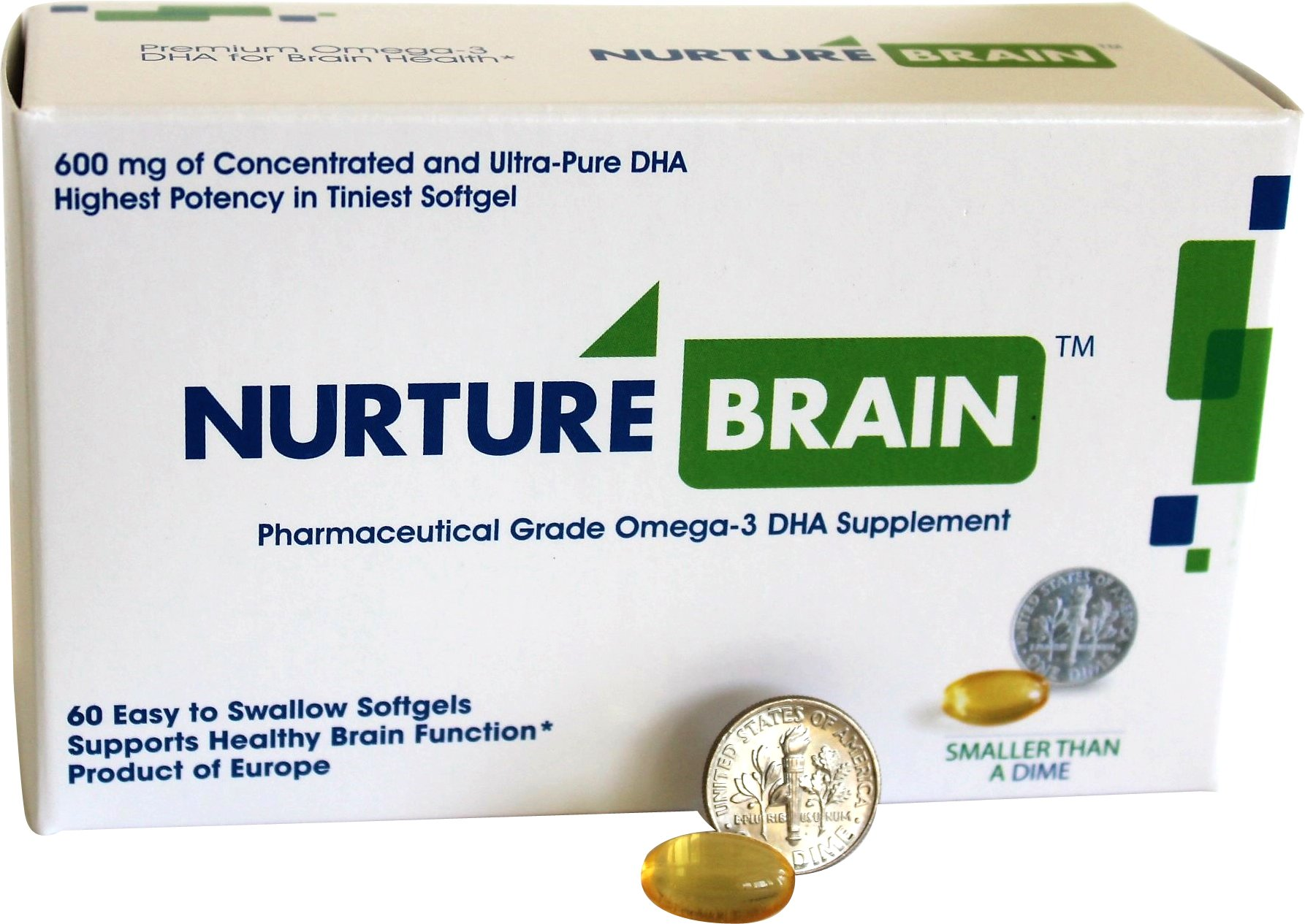Nurture Brain Concentrated Omega 3 DHA Supplement for Healthy Brain Function in Men, Women, Teens, Seniors (60 Softgels 600 mg DHA per dose)
