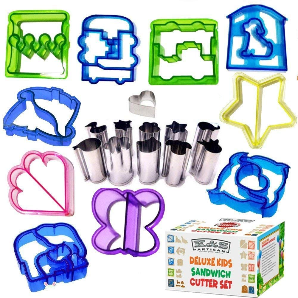 K&S Artisan Sandwich Cutters for Kids Bento Lunch Box accessories 10 Bread Crust Cutters + FREE 11 Stainless Steel Mini Vegetables Fruit Shapes Cookie Cutters Cheese Press Stamp Set FREE Cookies eBook