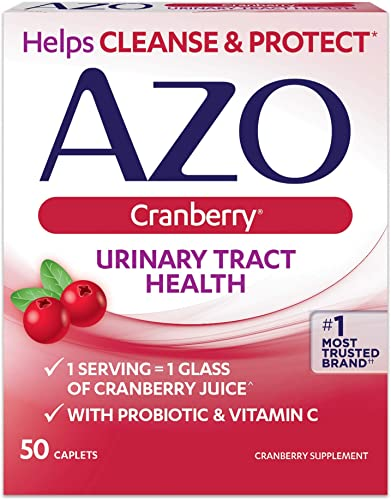 Azo Cranberry Urinary Tract Health Dietary Supplement Caplets – 50 Ct., Pack of 4