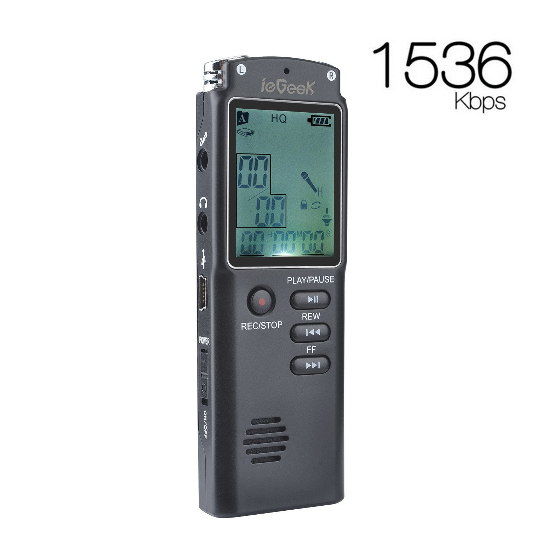Grabadora de Voz Digital ieGeek GB Kbps MP Auriculares Recargable Grabadora de