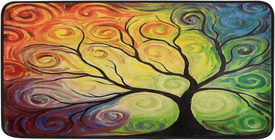 "Colorful Rainbow Tree of Life Branch Kitchen Rug Abstract Summer Spring Autumn Winter Floor Comfort Mats Bath Rugs Entryway Welcome Non Slip Area Rug for Indoor Hallway Doormats Home Decor 39"" X 20"": Kitchen & Dining"