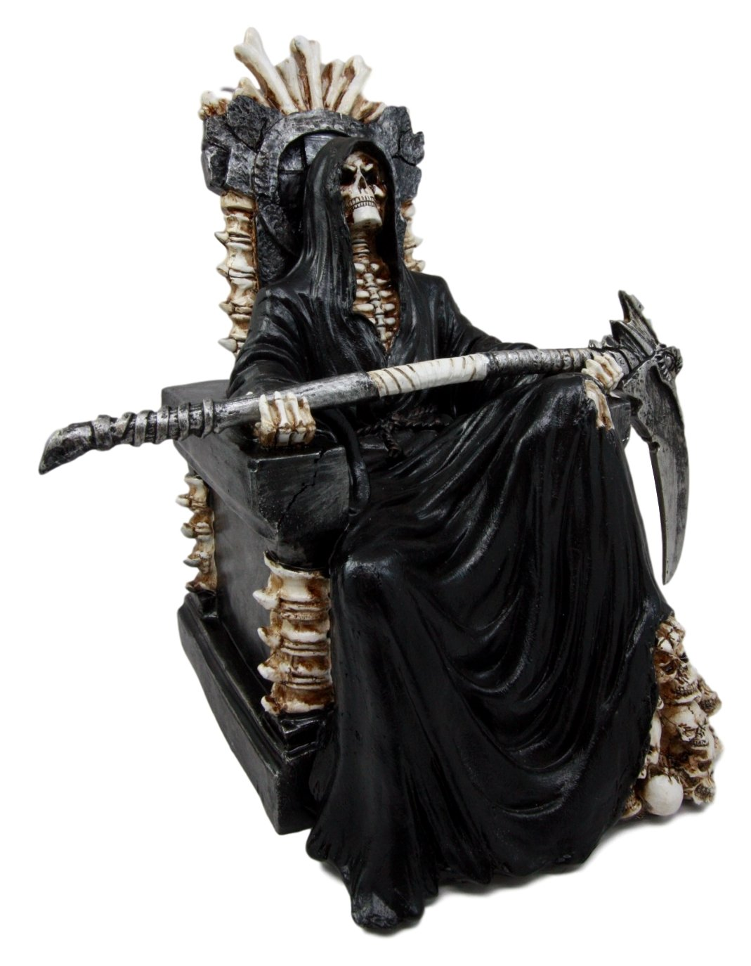 Ebros Gift Black Holy Death Grim Reaper Sitting On Skeleton Throne Figurine 10.5 Tall Time Waits for No Man Angel of Death with Scythe As Ossuary Home Decor Eternal Death Gates of Hades