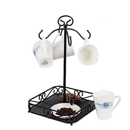Amazon VANRA Steel Coffee Mug Holder 40 Hook Kitchen Stand Cool Coffee Cup Display Stands