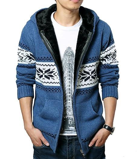 WSLCN Men's Warm Knit Hooded Cardigan Fleece Lined Argyle ...