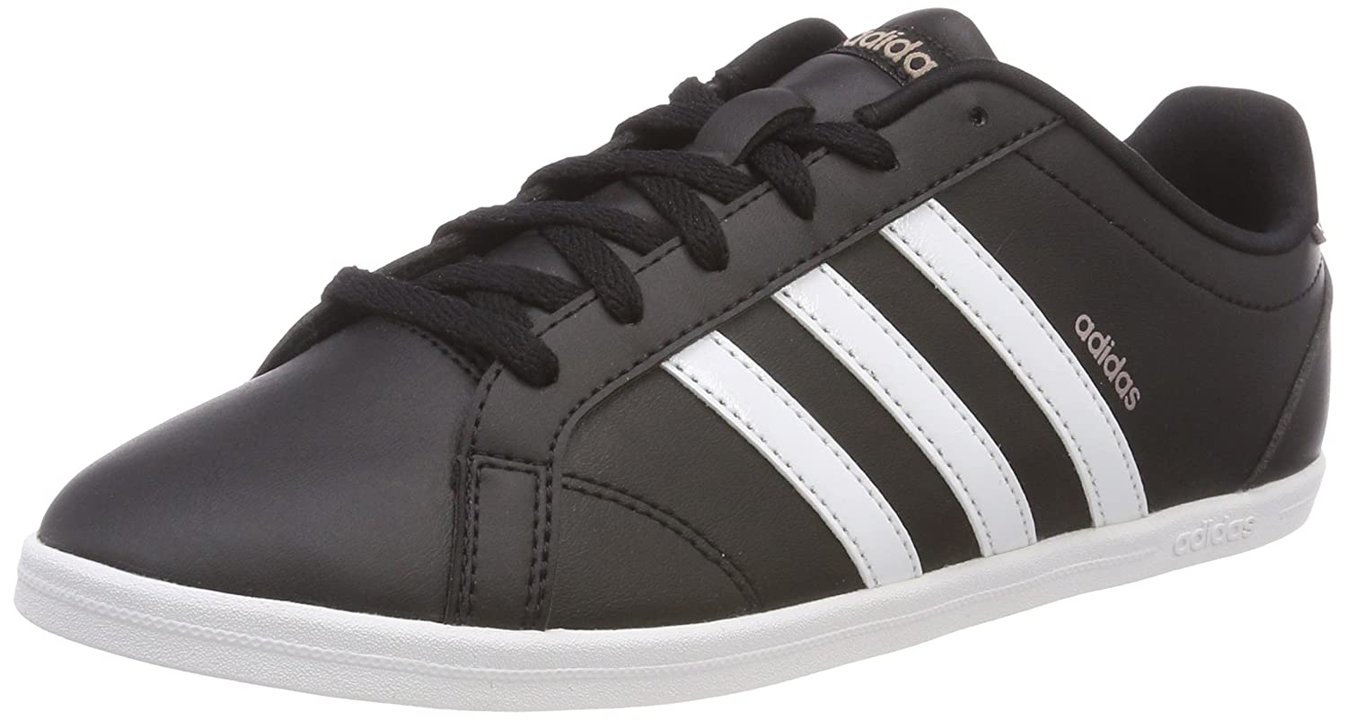 Adidas Coneo QT Leather Trainers Womens Black White Fashion