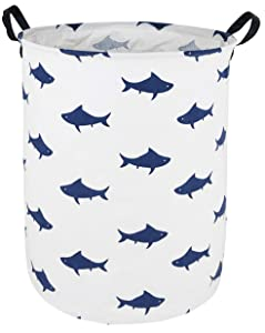 DUYIY Canvas Storage Basket with Handle Large Organizer Bins for Dirty Laundry Hamper Baby Toys Nursery Kids Clothes Gift Basket(Shark)