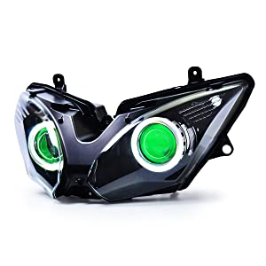 KT LED Angel Eye Headlight Assembly for Kawasaki Ninja 650 2017-2019 Green Demon Eye