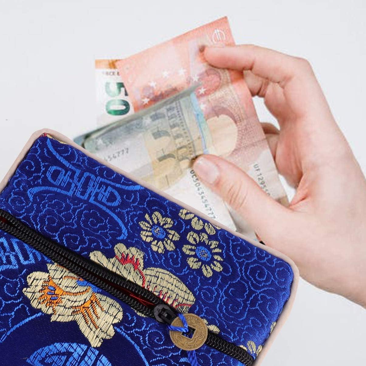 TENDYCOCO 12 Pezzi di Broccato di Seta Portamonete Portamonete Borsellino Portagioie Sacchetto Regalo con Fiocco Stile Cinese per Donna Donna Motivo Casuale