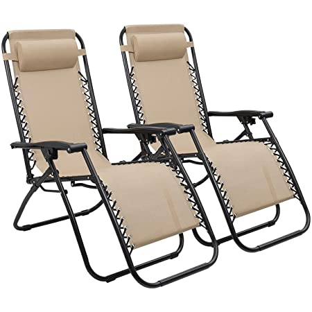 Devoko Patio Zero Gravity Chair Outdoor Folding Adjustable Reclining Chairs Pool Side Using Lawn Lounge Chair with Pillow Set of 2 Beige