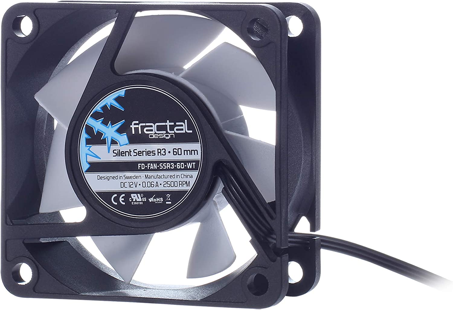 Fractal Design Silent Series R3 White - Silent Computer Fan - Optimized for Quiet Operation - 60 mm - Rotational Speed 2500 RPM - Black Ribbon Cable - Rifle Bearings - 12V - Black/White (Single)