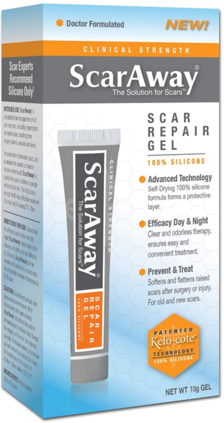 Scaraway Scar Repair Gel With Patented Kelo-Cote Technology 10 Gram (Pack of 3)