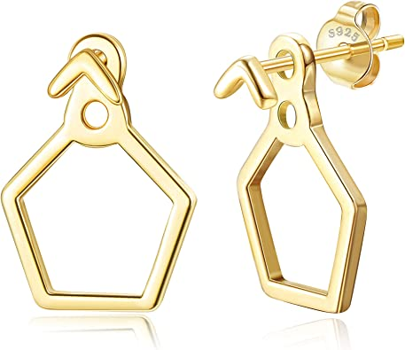 Gold earring jacket FREE SHIPPING triangle gold filled
