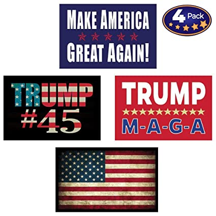 40a76dfc97a Pro Trump   American Flag Hard Hat   Helmet Stickers  4 Decal Value Pack.  Great for a Motorcycle Biker Helmet