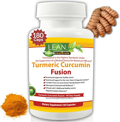 LEAN Nutraceuticals Turmeric Curcumin Supplement – Curcumin Supplements with Bioperine. 95 Standardized Curcuminoids Turmeric Capsules Non-GMO with Ginger, Bromelain and Black Pepper