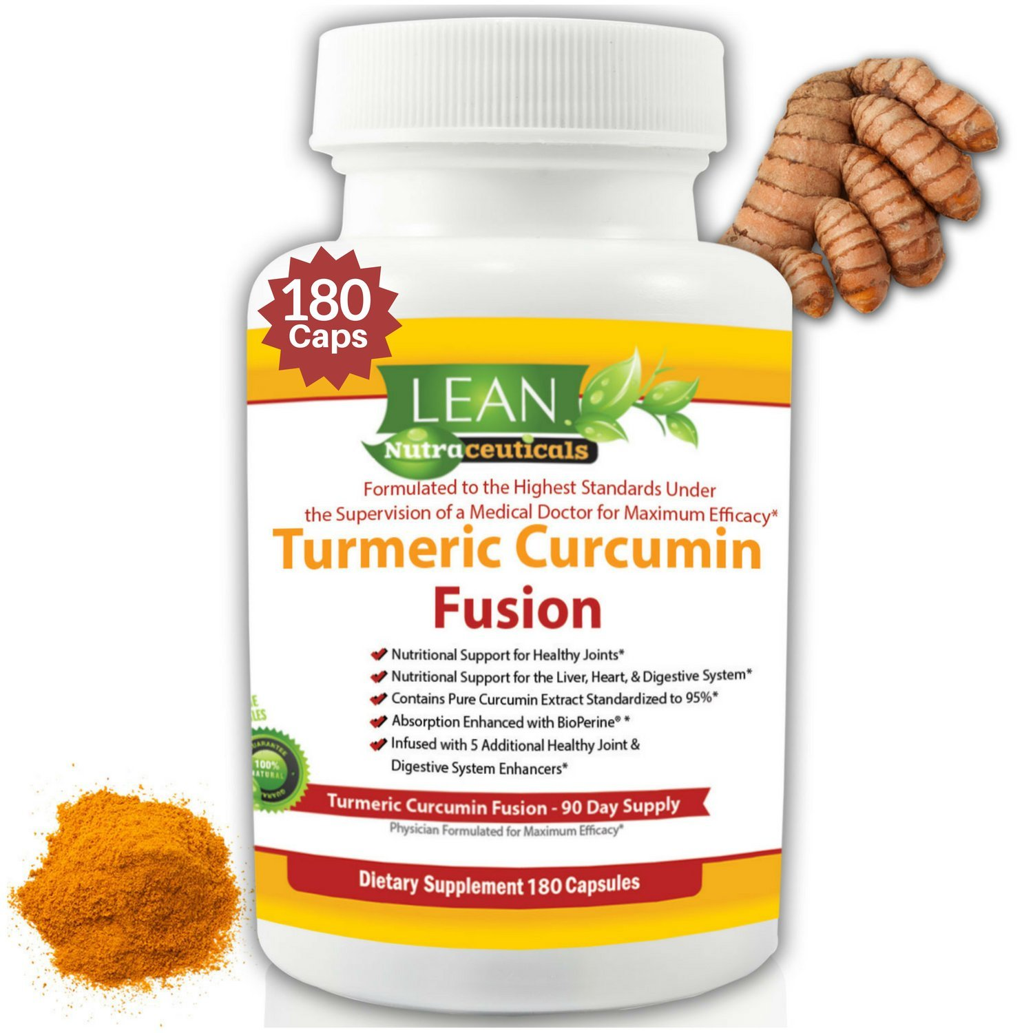 Lean Nutraceuticals Turmeric Curcumin Supplement – Curcumin Supplements with Bioperine. 95 Standardized Curcuminoids Turmeric Capsules Non-GMO Gluten-Free with Ginger, Bromelain and Black Pepper