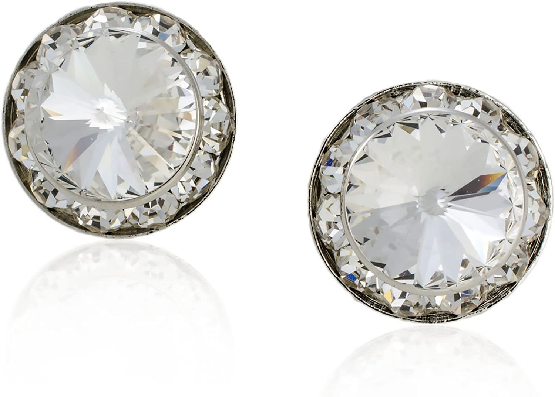 Clear Crystal Rhinestone Magnolia Flower Silver //Golden Crown /& Earring Clips