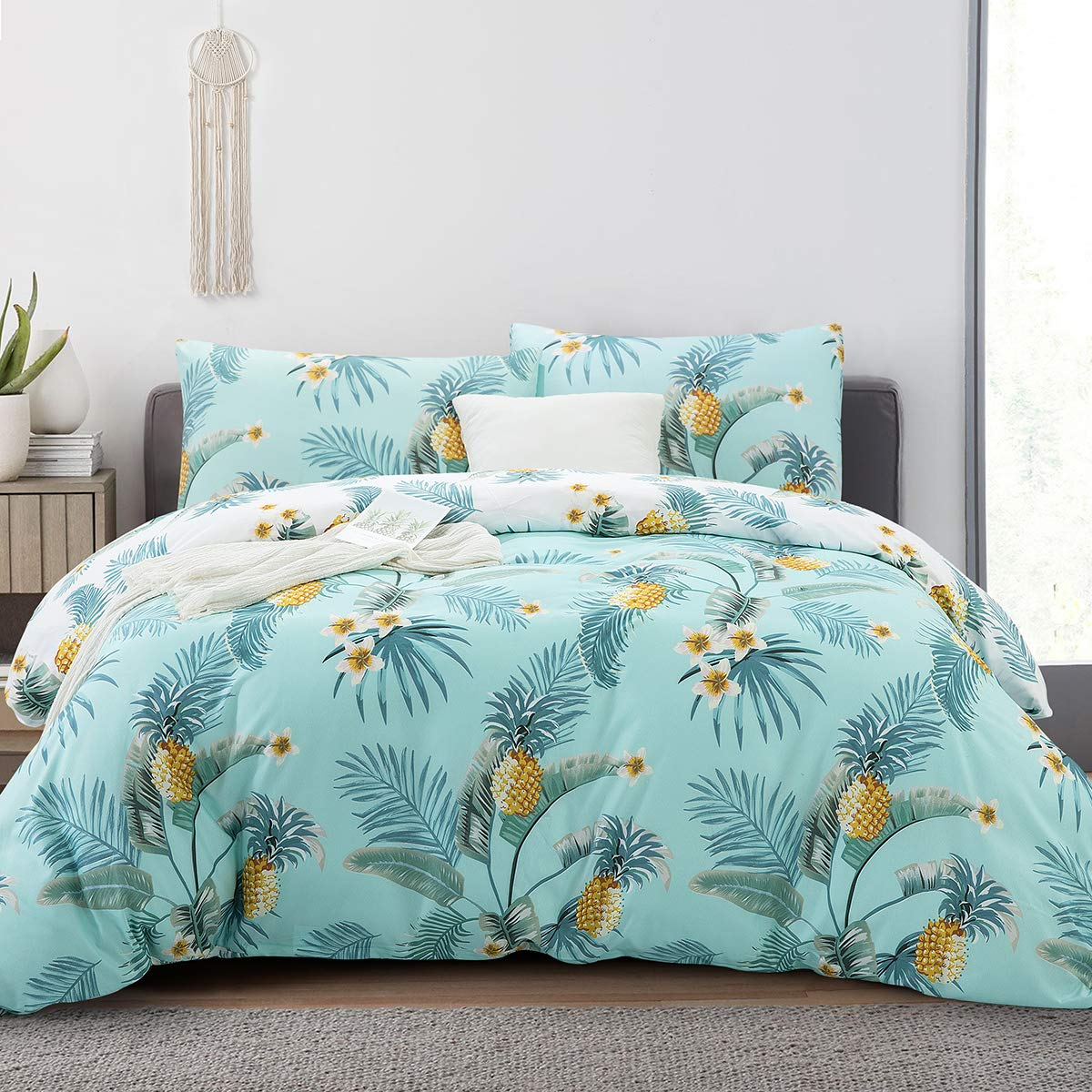 "ARTALL Soft Duvet Cover Set, Down Comforter Quilt Cover with Zipper Closure, Ties, Pineapple Pattern, Blue and Green, Full/Queen Size(90""x90"")"