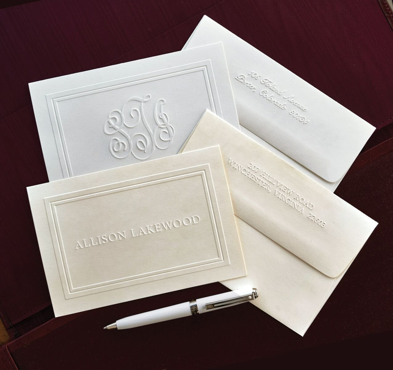 The Ultimate Embossed Double Border Notes - Personalized Embossed Notes -3190 by American Stationery