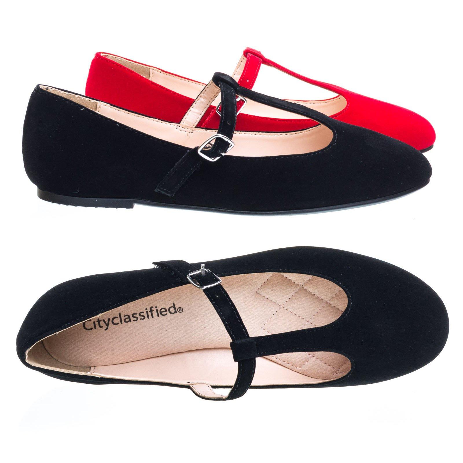City Classified Laura D-Black Ballet T-Strap Mary-Jane Flats. Women's Ballerina Round Toe Comfort Flats -7.5