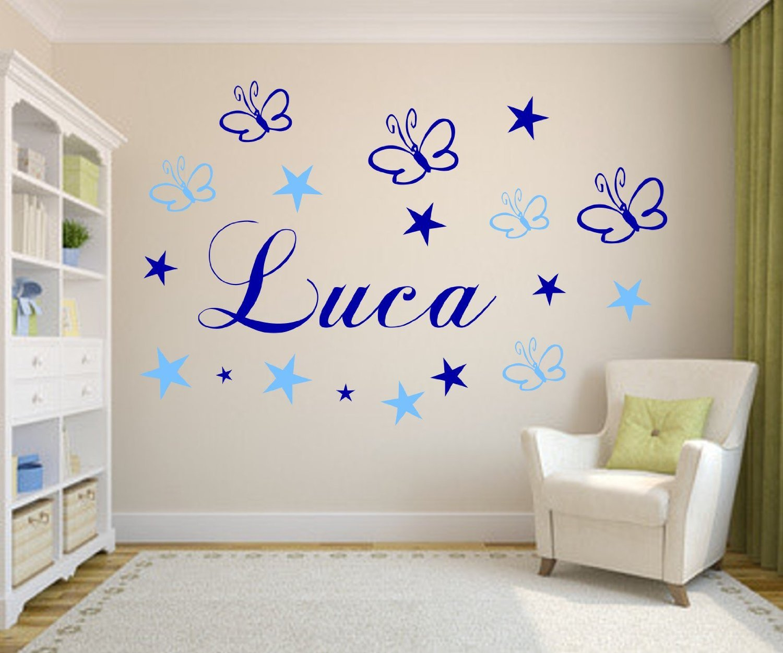 Wandtattoo Set personalisiert Wunsch Namen mit Schmetterlingen+ ...