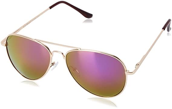 edbe653e6e6f A.J. Morgan Skyline Aviator Sunglasses, Gold/Purple Mirror Lens, 55 ...