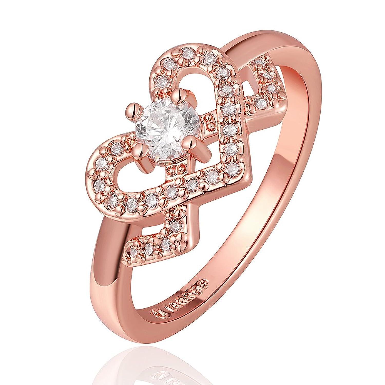 Amazon.com: Blean Fashion Women Jewelry Rose Color Bling Heart Love ...