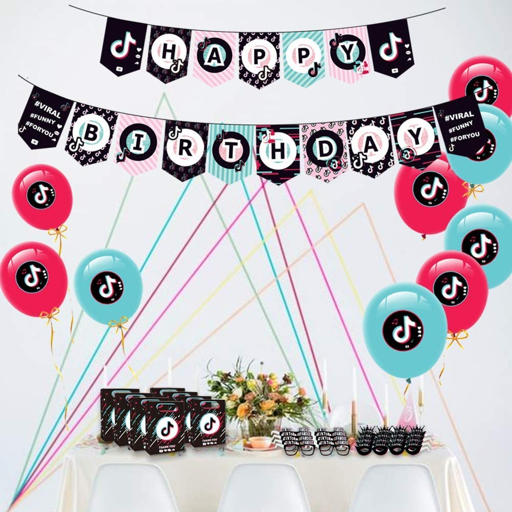 16 PCS TIK Tok Banner Flag for Girls Boys Adults Musical DJ Short Video Party Favors Party Decoration for Birthday Party Supplies