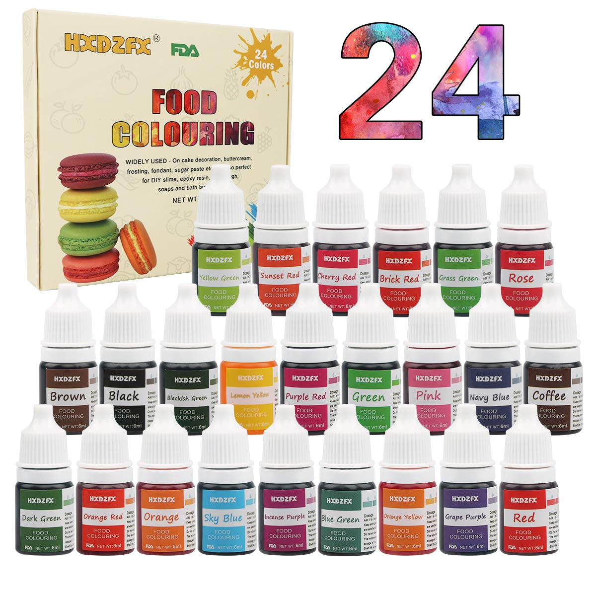 Food Coloring - 24 Color Rainbow Fondant Cake Food Coloring Set for Baking,Decorating,Icing and Cooking - neon Liquid Food Color Dye for Slime Making Kit and DIY Crafts.25 fl.oz.(6ml)Bottles by HXDZFX