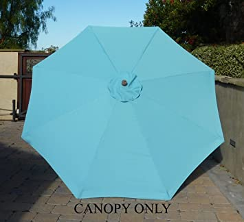 9ft Umbrella Replacement Canopy 8 Ribs In Light Blue (Canopy Only)